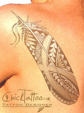 Polynesian Style Tribal Feather Tattoo Design by ChickTattoo.com