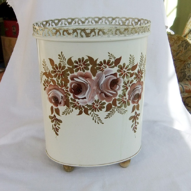 Metal Tole Painted Trash Can Vintage Vanity Waste Bin
