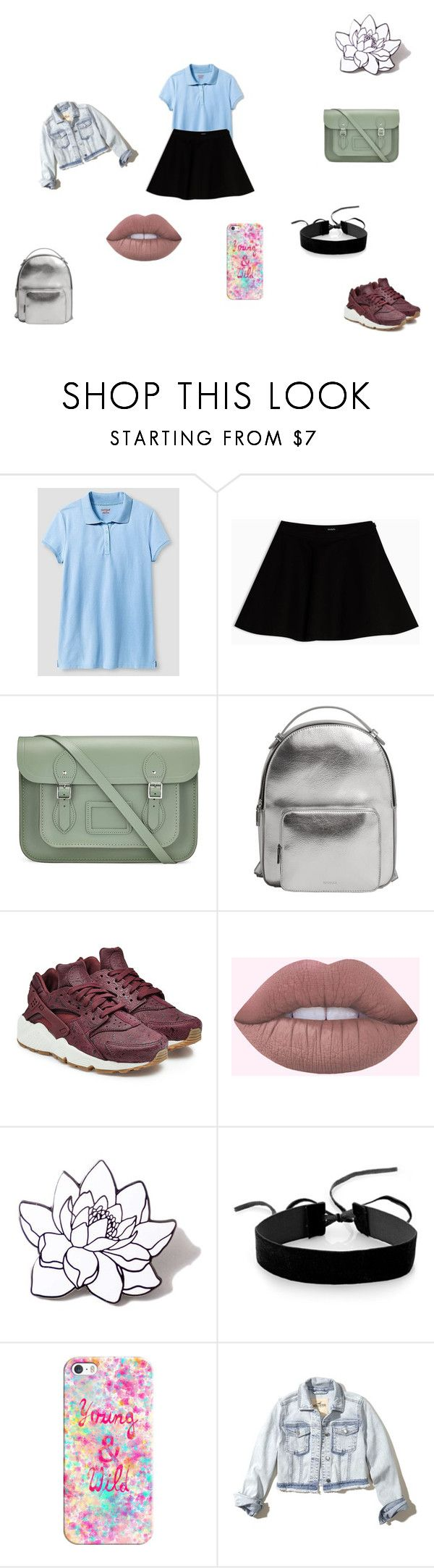 """schooll!!!!!!!!"" by queeniya ❤ liked on Polyvore featuring Cat & Jack, Max&Co., The Cambridge Satchel Company, MANGO, NIKE, PINTRILL, Simons, Casetify and Hollister Co."