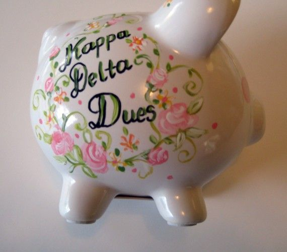 sorority dues piggy bank, cute idea for new member basket @Taylor Renwick @Caitlin Hines for your littles?!