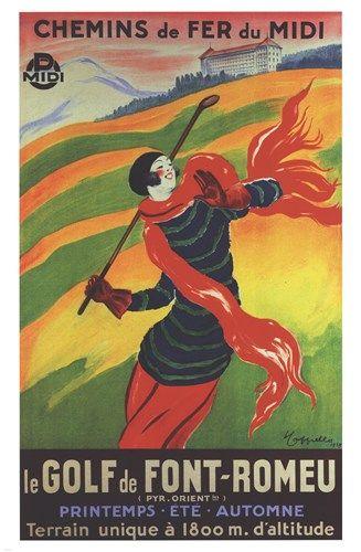 Font Romeu Le Golf, Art Print by Leonetto Cappiello