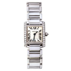 This is a Cartier watch of breath-taking beauty in a classic Roman numeral style. Its square, cream coloured face is framed by two rows of original Cartier diamonds authentic to the watch. It is supported by a bracelet strap in 18ct white gold. #cartier #vintagewatch