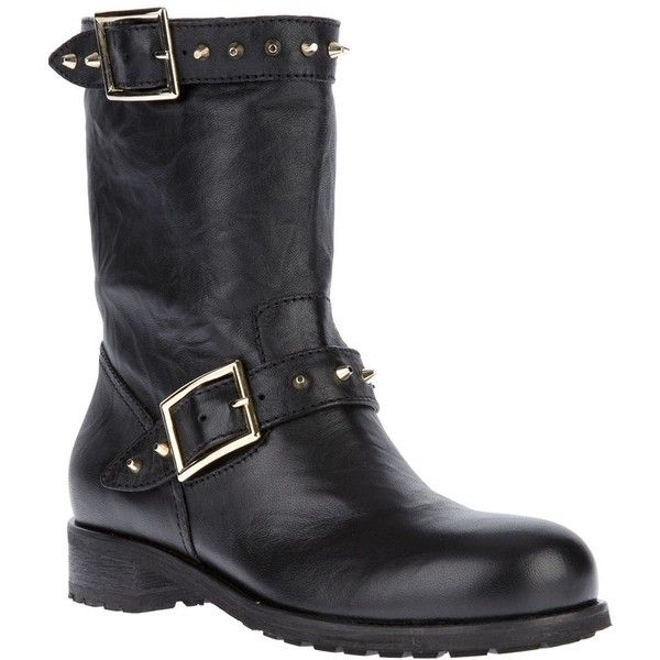 Jimmy Choo Dash Biker Boot ($595) ❤ liked on Polyvore featuring shoes, boots, black, black engineer boots, moto boots, black mid calf boots, black studded boots and black biker boots