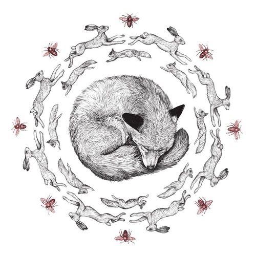 Fox Rabbit Illustration. Drawing / Print. Kids Room Interior.