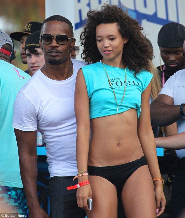 Beach party: Jamie Foxx partied with bikini models on Sunday at the Wildfox Model Beach Volleyball Tournament in Miiami Beach, Florida