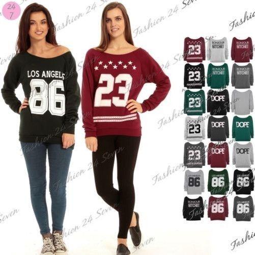 Clearence Womens 23 Dope Los Angeles 86 Bonjour Oversize Sweatshirt Ladies Top