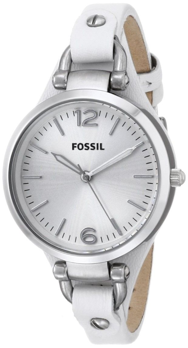 women's watches |  women white watches sale Fossil Women's ES2829 Georgia White Leather Watch