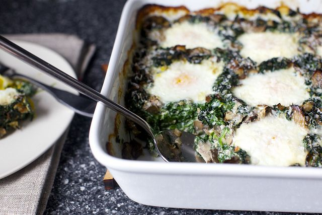 baked eggs with spinach and mushrooms | smittenkitchen.com