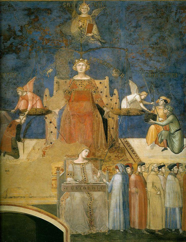 Амброджо Лоренцетти. Аллегория доброго правления. Фреска. деталь. Правосудие. 1337-1339. Сиена, Палаццо Пубблико.