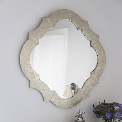 Lotus White Metal Wall Mirror