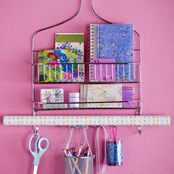 ...a shower rack as an organizer for craft supplies...