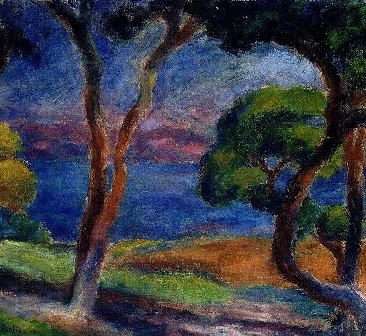 Pejzaż z piniami w Saint Tropez