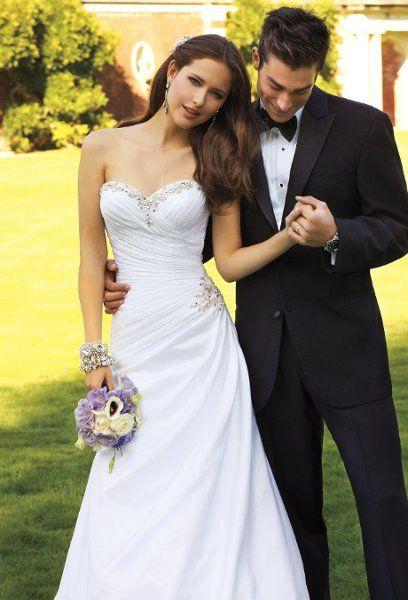 4097W  Taffeta sweetheart side drape wedding dress with rhinestone beaded accents and corset back.
