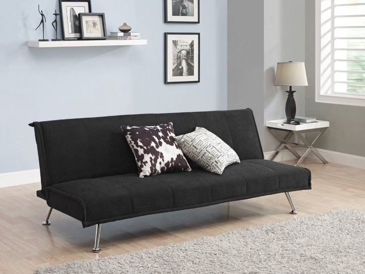 Perfect For Small Es This Black Microfiber Upholstered Futon Style Sofa Bed Lounger Couch Combines Simplicity And Everyday Living