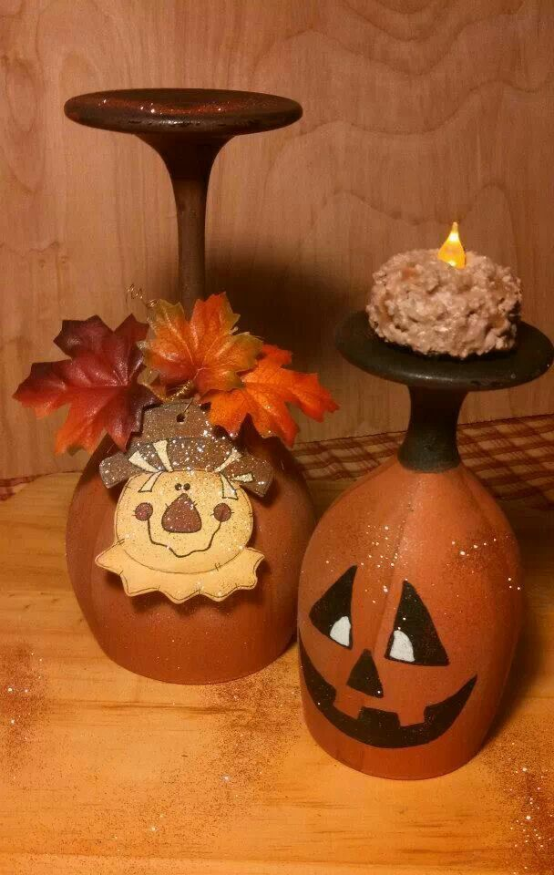 Painting Pumpkins On Wine Glasses