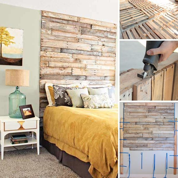 wood pallets headboard. Home decorating with pallets could create an appealing visual effect and personalized space that would reflect your character. http://www.theroosterandthehen.com/how-to-make-a-pallet-headboard/