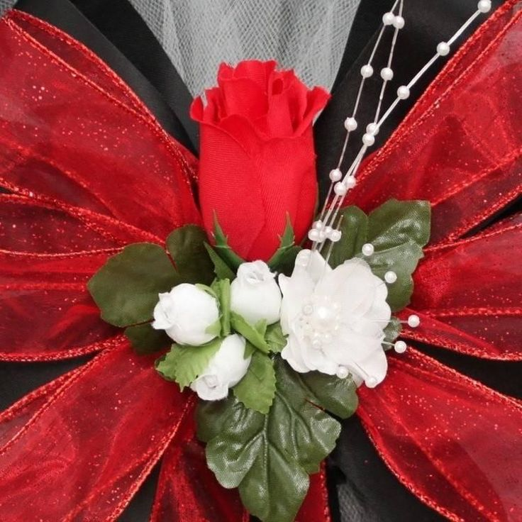 Black Red Rosebud Sparkle Wedding Pew Bows - Package Perfect Bows - 2