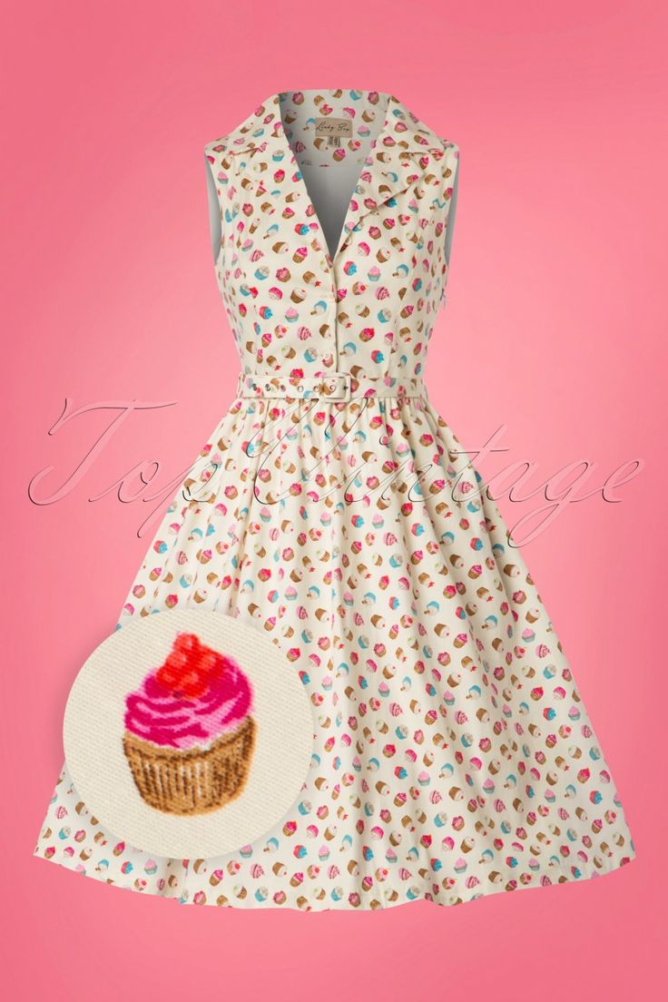 This 50s Matilda Cupcakes Swing Dress in Cream is definitely my cup of tea… uhm cake! Cupcakes are cheaper than therapy... and as a print on this dress a much healthier choice;-) This delicious dress is a must-have in your vintage wardrobe! The fitted sleeveless top features a V-neckline with a cute lapel collar and a row of cream coloured buttons. The detachable fabric belt will emphasize your waist perfectly and finishes it off completely. From the waist down she runs into a flattering…