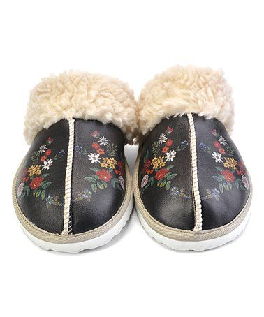 Love this Black & Red Floral Slipper on #zulily! #zulilyfinds