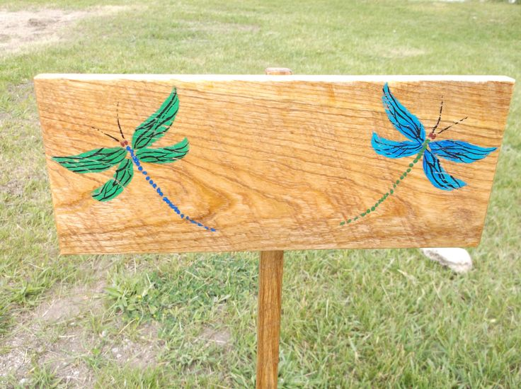 Dragonfly Custom Yard Sign - Green and Blue Dragonflies - You add the Saying or names - Weatherproof / Strong garden decor - Yard Ornament by Driftinn on Etsy
