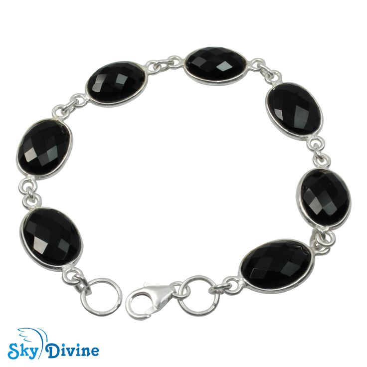 Sterling Silver Black onyx Bracelet SDBR2105 | Sky Divine Jewellery, $104.30