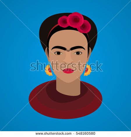 January 3, 2016: Vector illustration of famous Mexican artist Frida Kahlo.