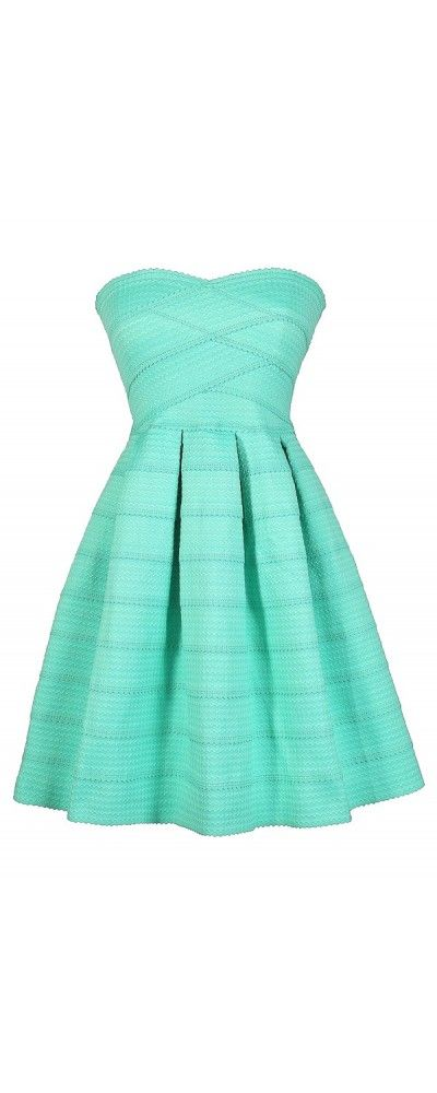 Belle of The Soiree Textured Strapless Dress in Mint  www.lilyboutique.com