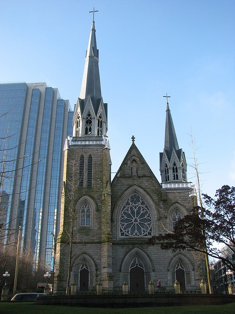 Holy Rosary Cathedral -  built in 1900- Vancouver's best example of Gothic Revival architecture as seen in the spires, pointed-arch windows and doorways and seeply pitched roof as well the sandstone carvings and tracery windows.