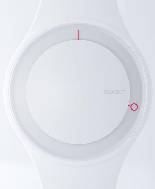 a designer Simone Savini pour le studio NOTdesignstudio a réalisé le design et concept de cette montre appelée simplement «Hoop Time» pour la marque Swatch