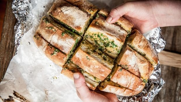 Stupendously good garlic bread from Karen Martini's new cookbook 'New Kitchen'. Image supplied by Pan Macmillan.