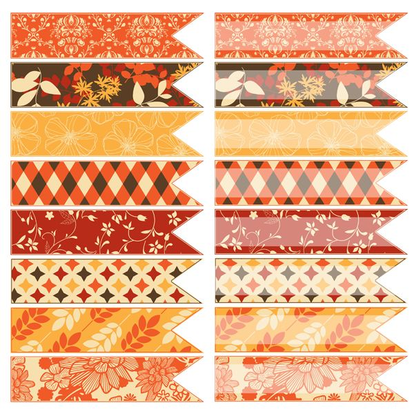 Free Fall Digital Ribbons - Print them as solid ribbons for embellishments or use the clear ribbons to type in labels! ~ The Cottage Market