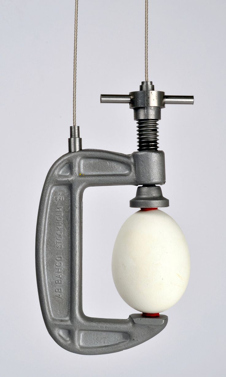 Sigurd Bronger Brooch: Carrying device for a goose egg, 2015 Goose egg, rubber, steel, chrome plated brass.