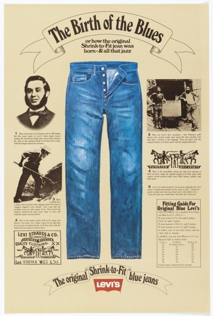 """Poster: """"The Birth of the Blues"""" for Levi Strauss, ca. 1975–80.Gift of Various Donors. 1981-29-253."""