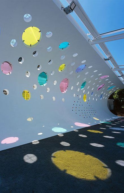 Colour glass wall for Machida Kobato Kindergarten, Tokyo, Japan by Etre Design