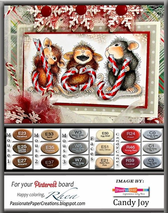 Passionate Paper Creations: Candy Joy a darling card and coloring guide for #Stampendous by Rhea Weigand. @House-Mouse Designs® Images ©Ellen Jareckie
