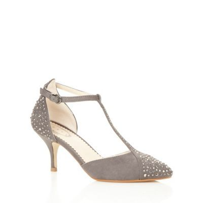 Debut Dark grey rhinestone T-bar mid court shoes- at Debenhams.com