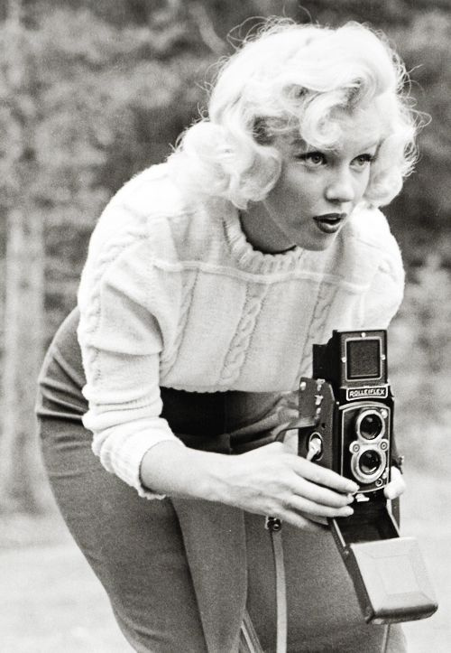 """Photographed by John Vachon for LOOK magazine in Alberta, Canada, during the production of """"River of No Return"""", 1953"""