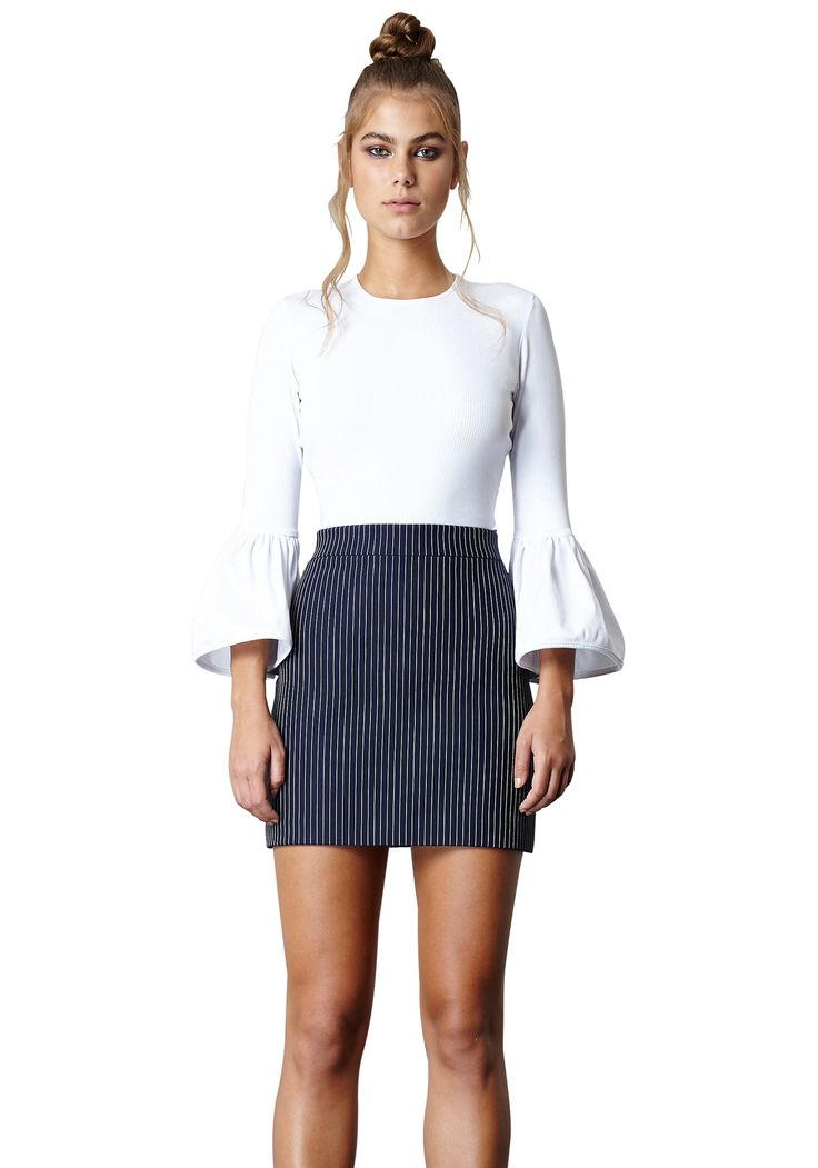 FAN FRILL TOP & THINSTRIPE MINI SKIRT |