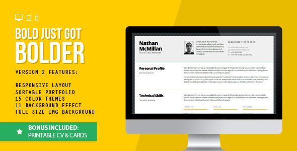 Bold 2 - Better Responsive Resume/CV (Print Bonus) - Resume / CV Specialty Pages