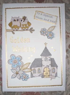 Golden wedding card for a couple who likes owls