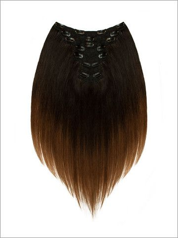 """Seven Piece Balayage"" - 18"" Remy Hair Clip-In Sets (Chocolate Toffee) 114g"