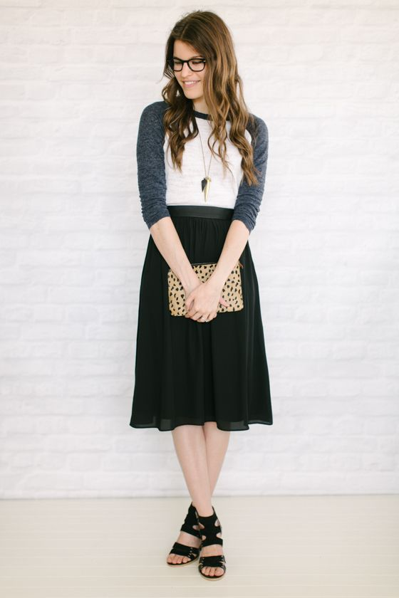 Unfancy:Capsule #2 / Outfit 58  I love how these two pieces (baseball tee, midi skirt) don't go together at all -- but when you actually put them together, well, they just play off each other and wo...