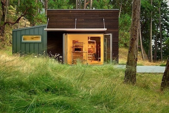 Weekend Cabin: San Juan Island, WashingtonPrentiss Architects, Studios Spaces, Adventure Journals, Weaving Studios, Modern Exterior, Apartments Therapy, Cabin Studios, San Juan Islands, Weekend Cabin