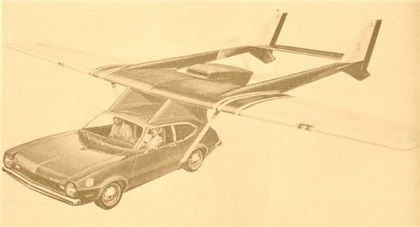 Artist's rendering shows what an Advanced Vehicle Engineers' Aircar will look like when airborne. Modified production Ford Pinto is utilized with an airframe and engine of a Cessna, which is detachable in minutes so car may be used on highways.