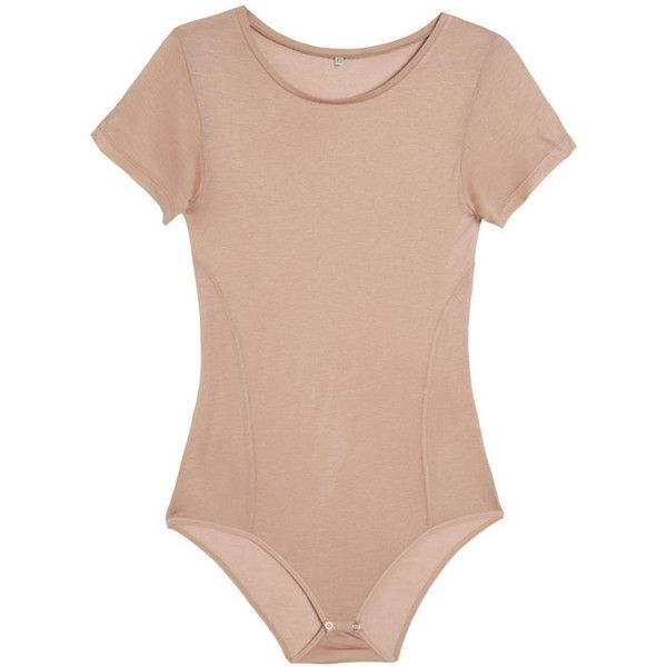 Baserange Nude Tee Bodysuit ($90) ❤ liked on Polyvore featuring intimates, shapewear, bodysuits and tops