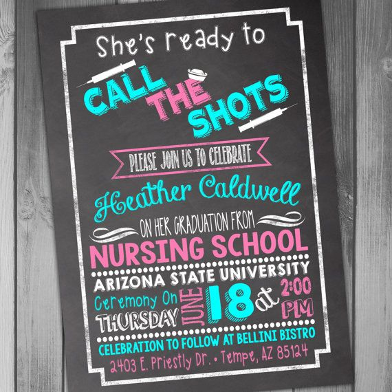 Nursing School Graduation Invitation Graduation by CLaceyDesign