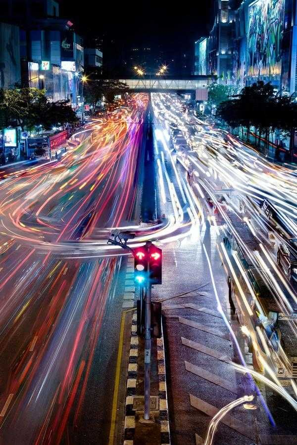 Photography 65-8: Bangkok Traffic, Night Lights, Bangkok Thailand, Bright Lights, Fast Cars, Lights Paintings, Cities Lights, Street Lights, Shutters Speed