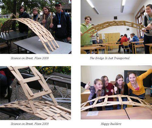 Science practical activity: Leonardo Da Vinci's Bridge - this is awesome! - no nails, no ropes, no glue, just wooden sticks!