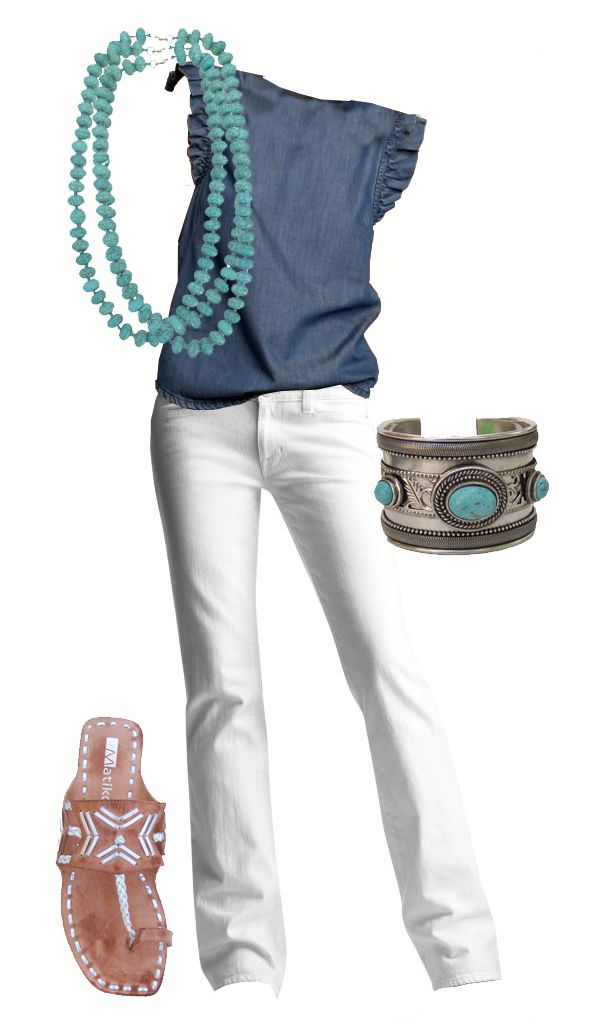 cute summer outfit - white pants, denim shirt, turquoise accessories