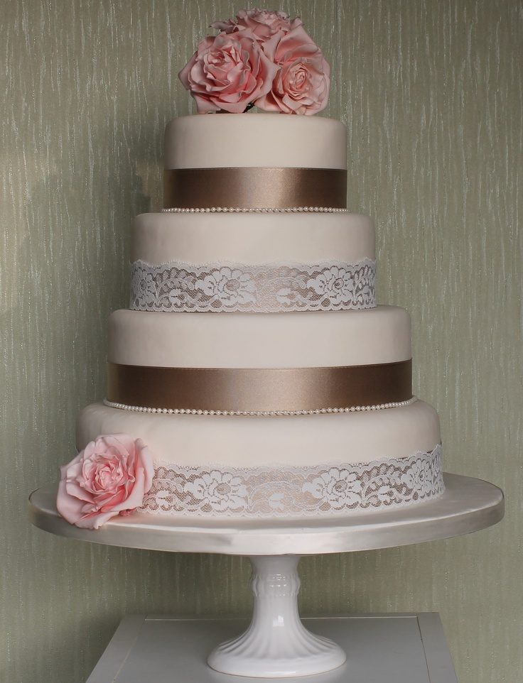 beautiful pink and brown ribbon and lace wedding cake cake inspirations pinterest. Black Bedroom Furniture Sets. Home Design Ideas